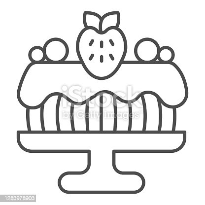 istock Cake in glaze with chocolate and strawberries thin line icon, Birthday cupcake concept, Sponge cake sign on white background, Birthday dessert on dish icon in outline style. Vector graphics. 1283978903