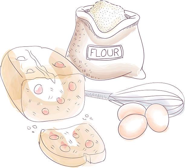 Kuchen Zutaten – Vektorgrafik