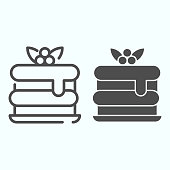 Cake line and solid icon. A birthday cake vector illustration isolated on white. Cake with berries outline style design, designed for web and app. Eps 10