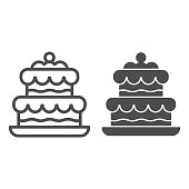 istock Cake line and solid icon. Birthday party or wedding sweet dessert symbol, outline style pictogram on white background. Bakery shop sign for mobile concept and web design. Vector graphics. 1211787163