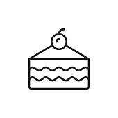 Cake Outline Icon with Editable Stroke.