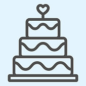 Cake line icon. Holiday celebration sweets stand with heart shape. Wedding asset vector design concept, outline style pictogram on white background, use for web and app. Eps 10