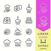 Cake - line vector icon set. Editable stroke.