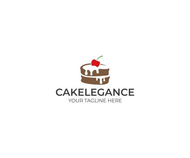illustrazioni stock, clip art, cartoni animati e icone di tendenza di cake logo design. food vector design. baking illustration - cake