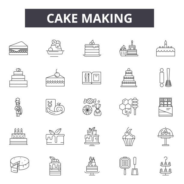 stockillustraties, clipart, cartoons en iconen met cake die lijn pictogrammen voor web en mobiel ontwerp maakt. bewerkbare lijn tekens. cake maken schets concept illustraties - tafel restaurant top