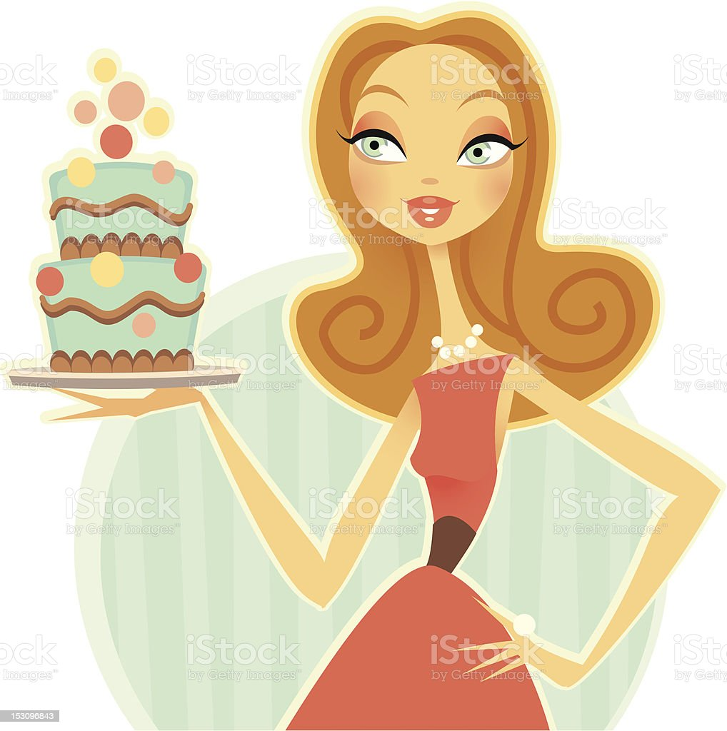 Cake Model vector art illustration