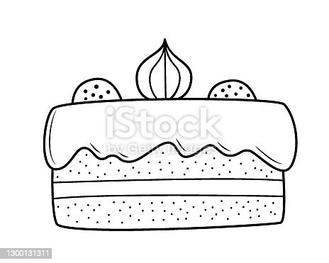 istock A cake of two biscuits with a layer and cream on top, decorated with meringues and marmalade. Black and white hand-drawn isolated outline drawing on a white background. 1300131311