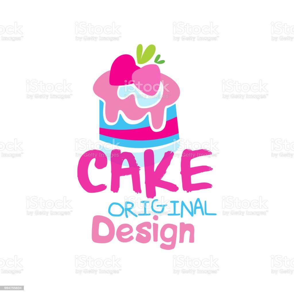 Cake Original Logo Design Emblem In Pink Colors For