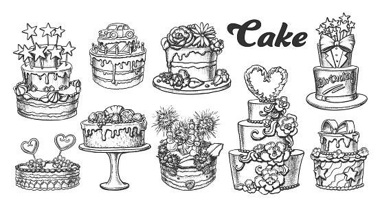 Cake Pie Delicious Collection Retro Set Vector