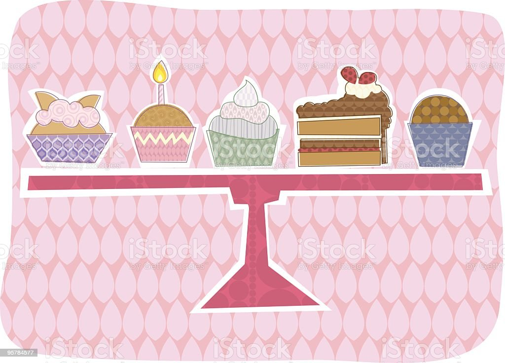 Cake selection vector art illustration