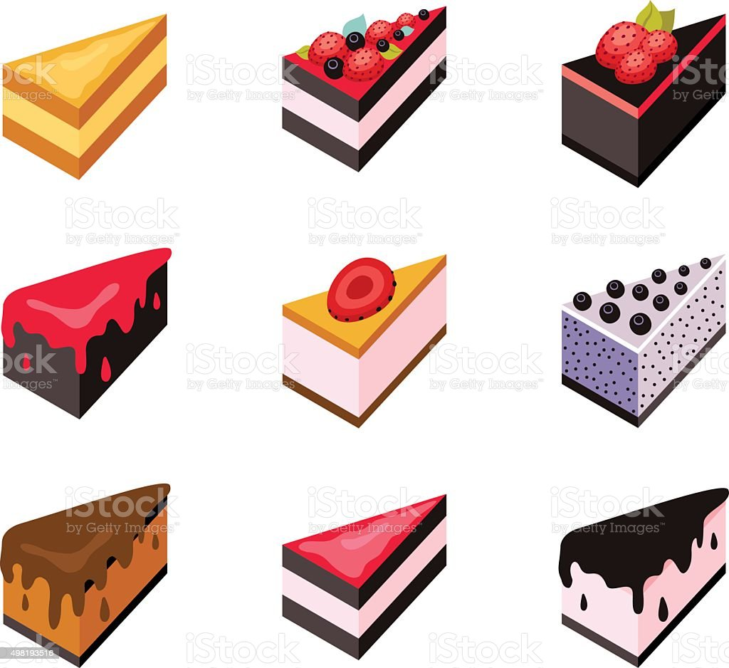 Cake set Isometric flat design web icon collection Delicious dessert vector art illustration