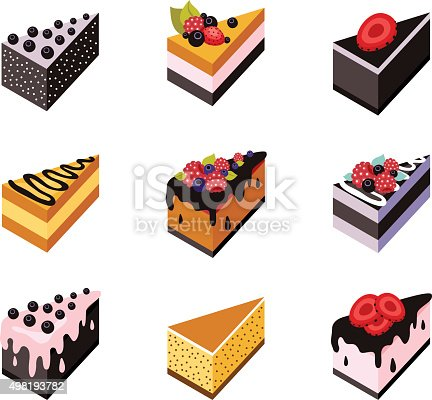 Cake set Isometric flat design web icon collection Delicious dessert Vector illustration
