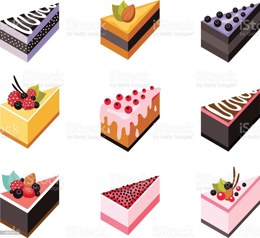Cake Set Isometric Flat Design Web Icon Collection ...