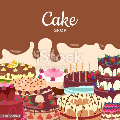 Cake shop concept. Sweet cakes decorated fruits, covered glaze, dripping chocolate, cream for birthday or wedding flat vector illustration. Delicious baked sweets. For bakery, confectionery ad