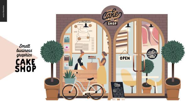 kek dükkanı - küçük işletme grafikleri - cephe - small business stock illustrations