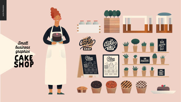 Cake shop - small business graphics - owner and shop elements Cake shop, cakes on demand - small business graphics - owner and shop elements -modern flat vector concept illustrations - baker with a range of cupcakes and branded shop elements decorating a cake stock illustrations