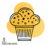 Hand drawn doodle icon for cake shop to use as vector design element. Minimalistic symbol made in the style of editable line illustration.