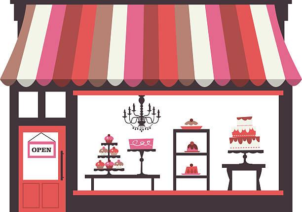 illustrations, cliparts, dessins animés et icônes de gâteau vitrine - vitrine magasin