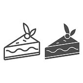 Cake slice line and solid icon, confectionary concept, cheesecake sign on white background, piece of chocolate cake with berry on top icon in outline style for mobile and web design. Vector graphics