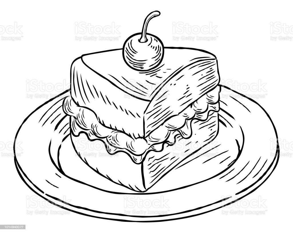 Cake Slice Vintage Retro Woodcut Style Stock Illustration ...