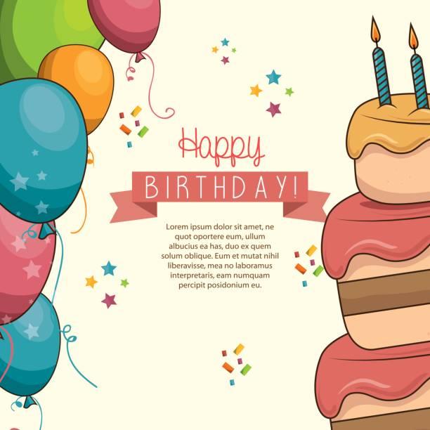 cake sweet balloons happy birthday desing isolated cake sweet balloons happy birthday desing isolated vector illustration eps 10 cake borders stock illustrations