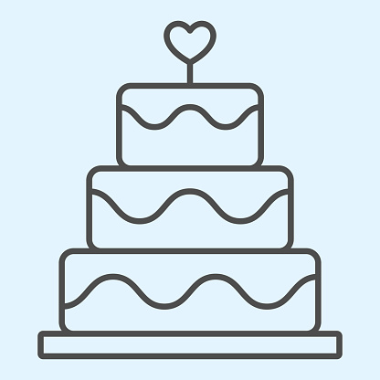 Cake thin line icon. Holiday celebration sweets stand with heart shape. Wedding asset vector design concept, outline style pictogram on white background, use for web and app. Eps 10.