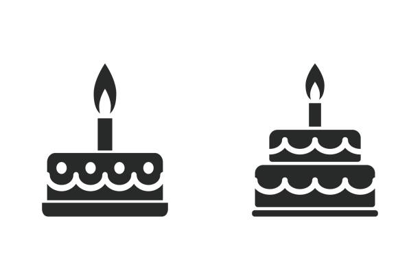 cake - vector icon. - happy birthday cake stock illustrations, clip art, cartoons, & icons