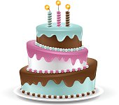 Detailed birthday cake isolated on white. EPS 10 file. Transparency used on highlight elements.