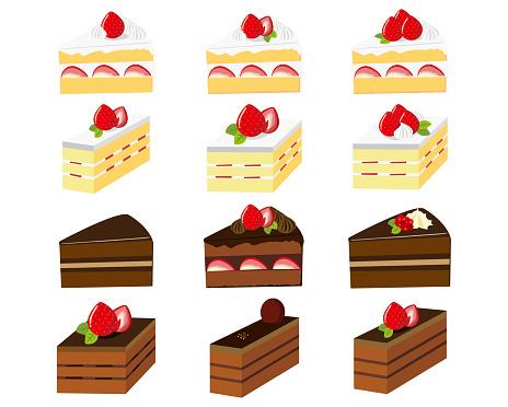Cake vector illustration . Sweets, desserts . chocolate cake . Shortcake