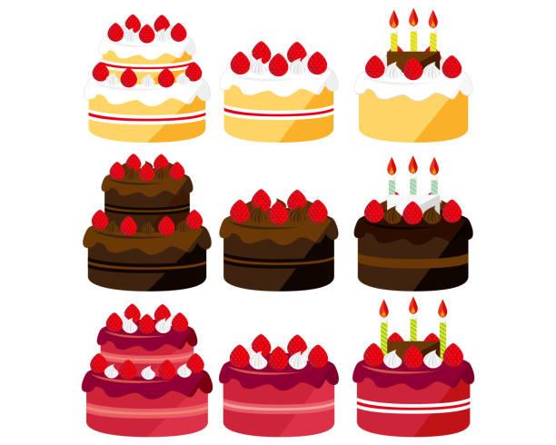 ilustracja wektorowa ciasta . słodycze, desery . ciasto czekoladowe . ciastko na krótki czas - ciasto stock illustrations