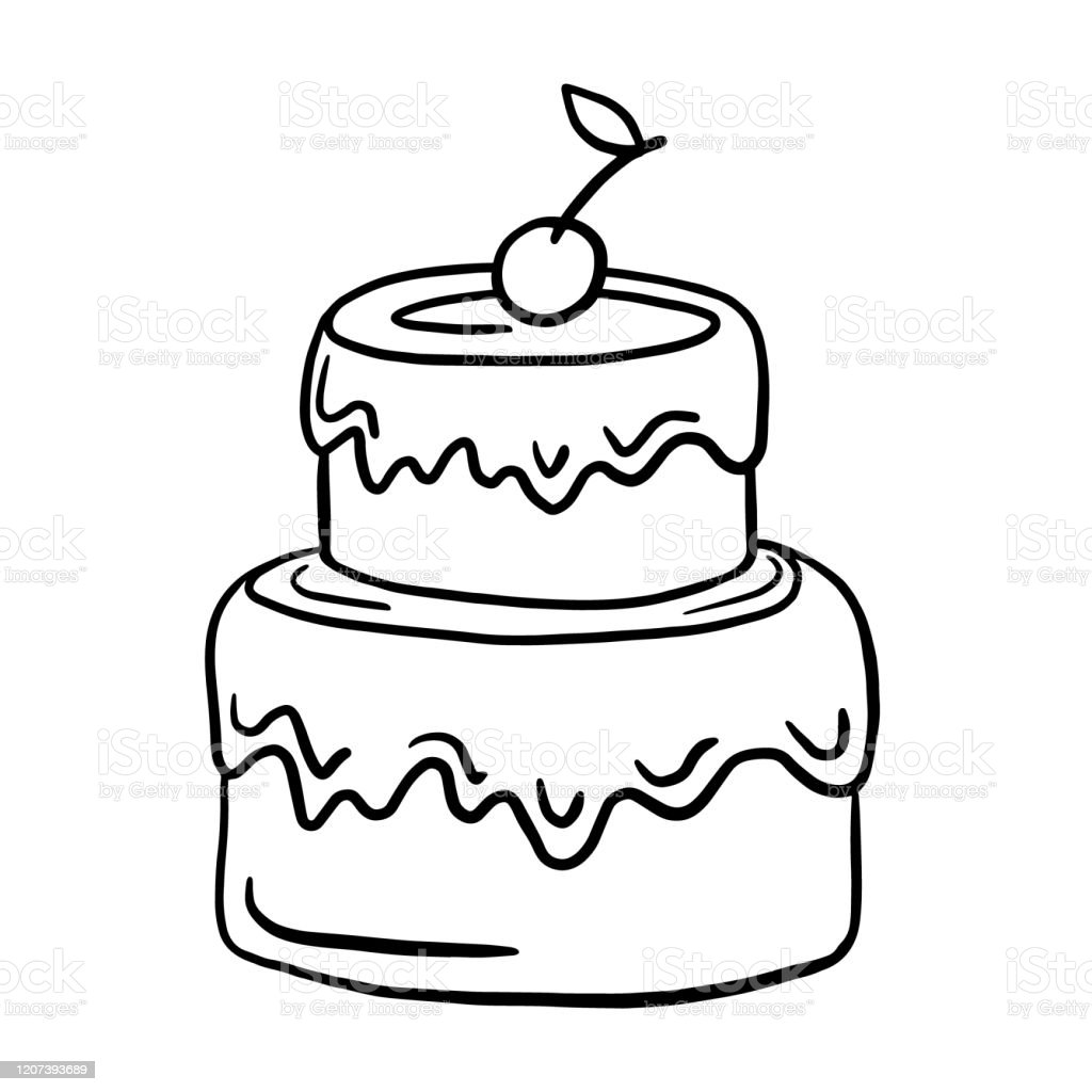 Surprising Cake Vector Linear Illustration Freehand Drawing Doodles Birthday Birthday Cards Printable Benkemecafe Filternl