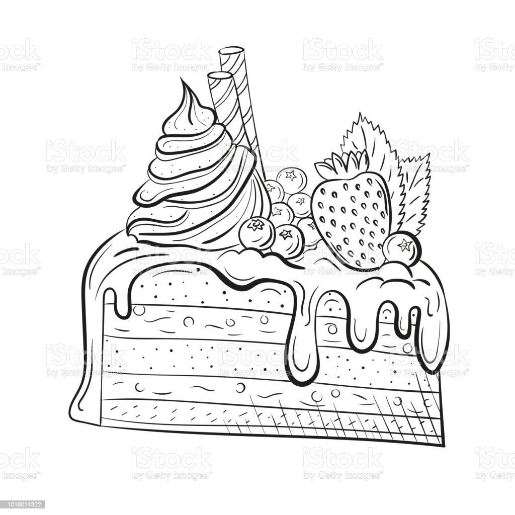 Kuchen Mit Beeren Sahne Und Minze Schöne Süßspeise Clipart Für Ein