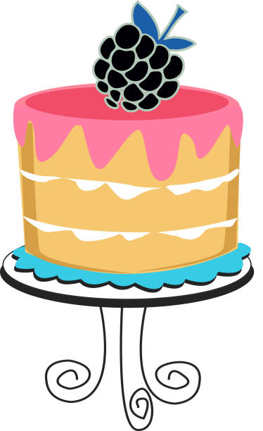 Cake with berry vector art illustration