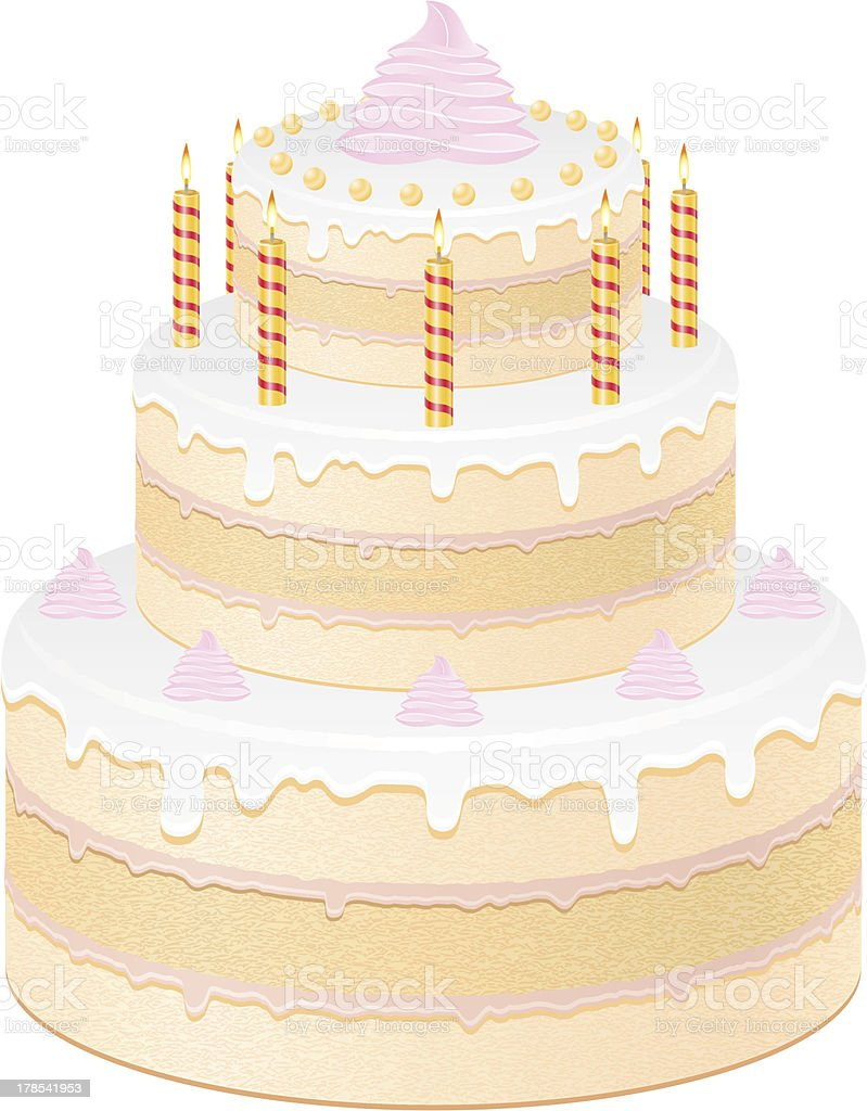 cake with burning candles vector illustration royalty-free cake with burning candles vector illustration stock vector art & more images of anniversary
