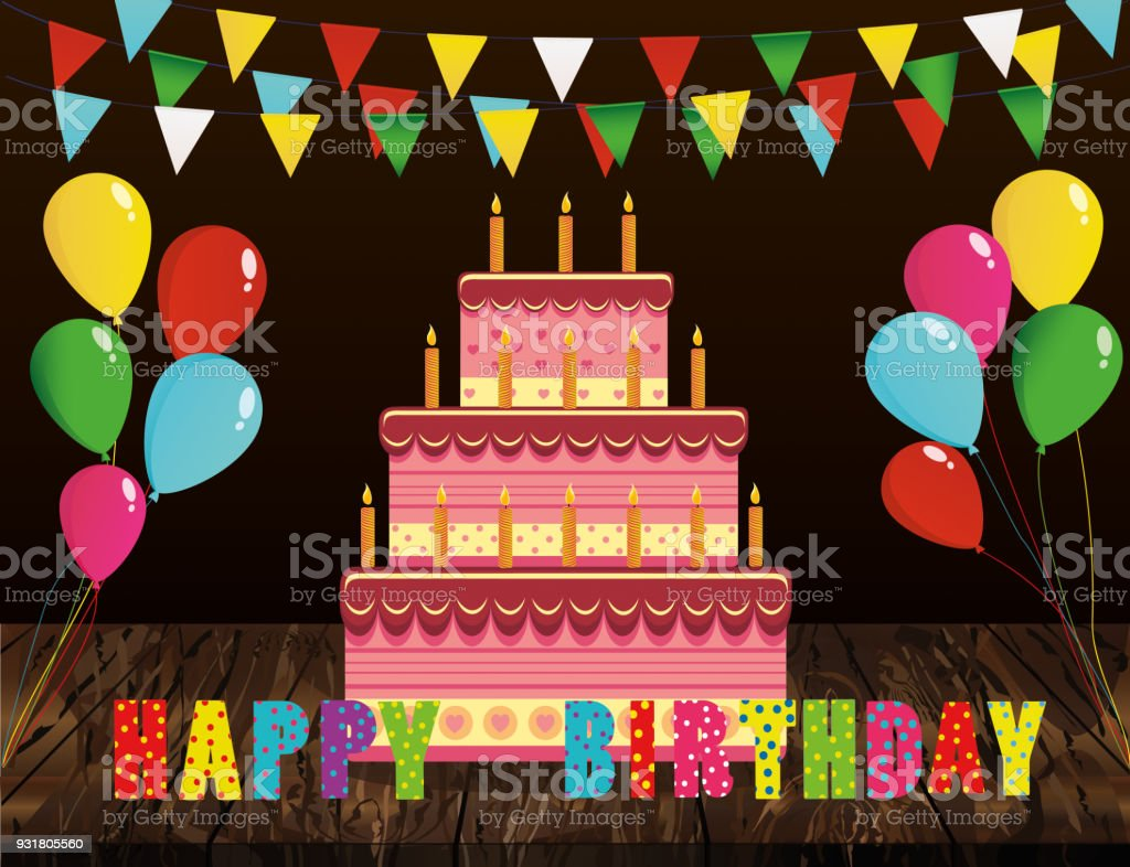 Birthday Cake Balloons Images ~ Cake with candle letters happy birthday and balloons greeting card
