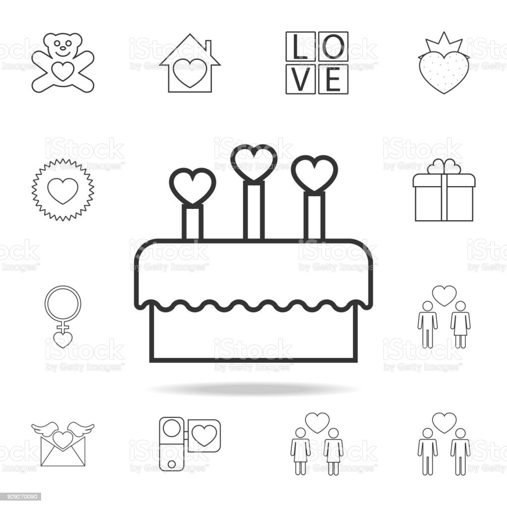 Cake With Candles In The Form Of Hearts Icon Set Of Love Element