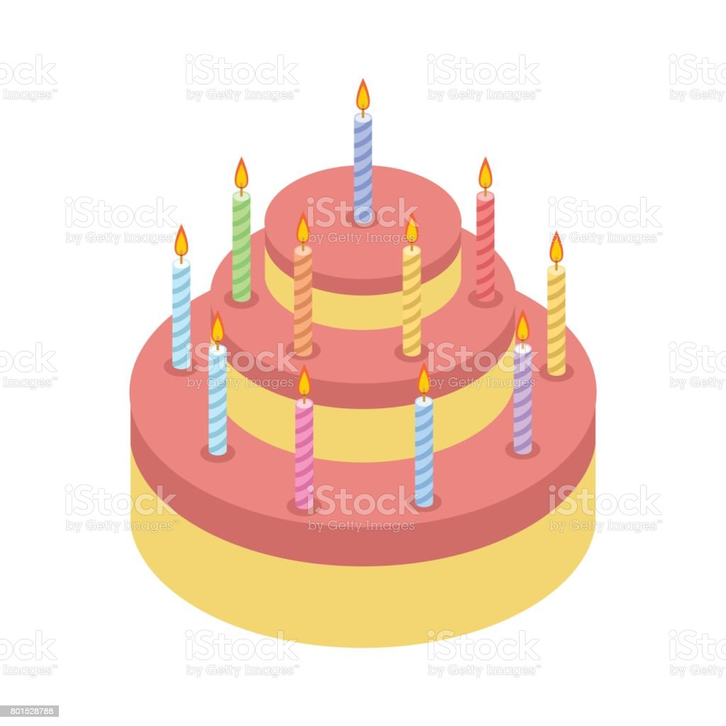 Kuchen Mit Kerzen Fur Urlaub Isoliert Geburtstag Kuchen Auf Weissem
