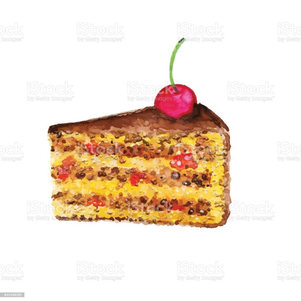 Kuchen Mit Kirschen Aquarell Designelement Stock Vektor Art Und Mehr
