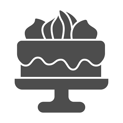 Cake with chocolate glaze and marshmallows solid icon, Birthday cupcake concept, biscuit decorated with sweets sign on white background, Cake dessert icon in glyph style. Vector graphics.