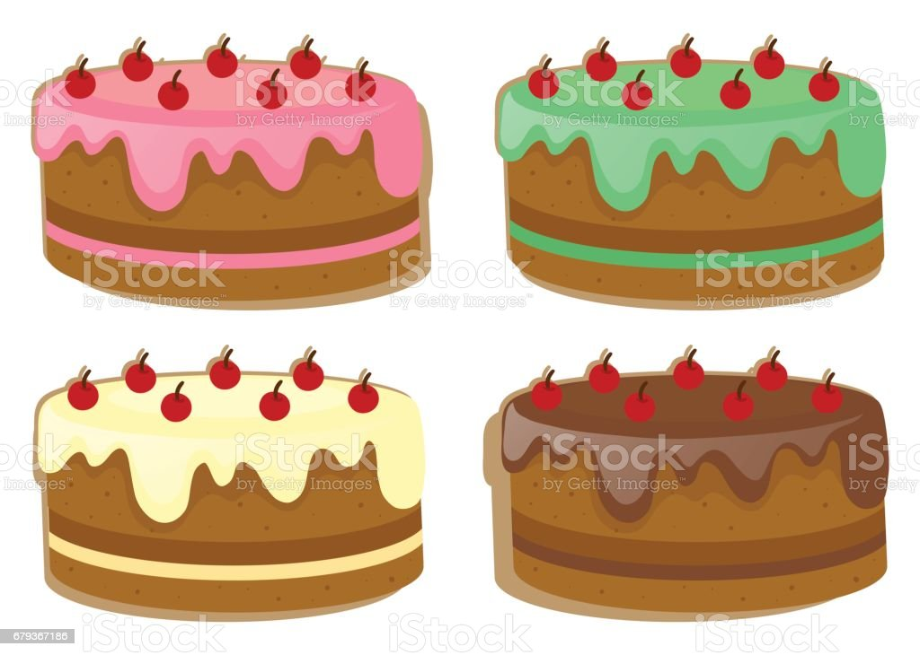 Cake with four different toppings royalty-free cake with four different toppings stock vector art & more images of art
