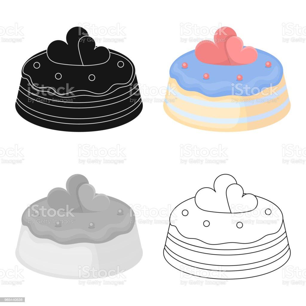Cake with hearts icon in cartoon style isolated on white background. Cakes symbol stock vector web illustration. cake with hearts icon in cartoon style isolated on white background cakes symbol stock vector web illustration - stockowe grafiki wektorowe i więcej obrazów ciasteczko royalty-free