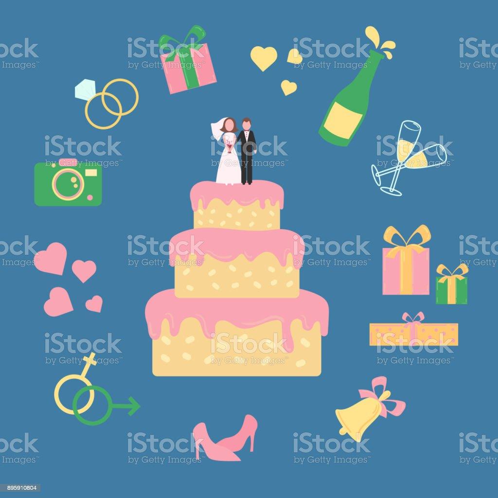 Bolo com estatueta do noivo e da noiva. Qua ícones - ilustração de arte em vetor