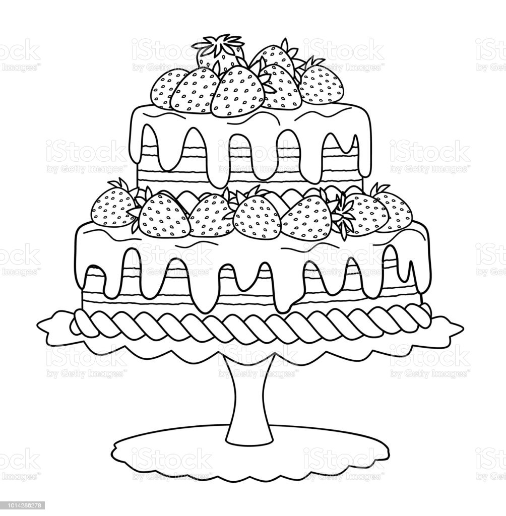 塗り絵のイチゴのケーキ お絵かきのベクターアート素材や画像を多数ご