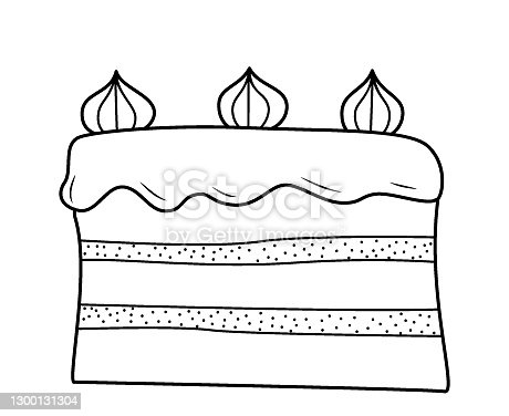 istock Cake with two layers and cream on top, decorated with three meringues. Black and white hand-drawn isolated outline drawing on a white background. 1300131304