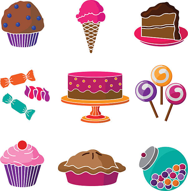 cakes and confections vector art illustration
