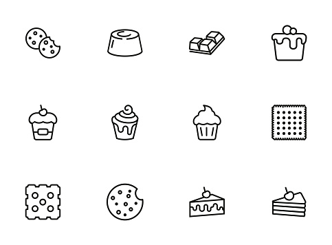 Cakes and cookies line icon set
