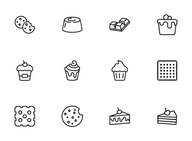 Cakes and cookies line icon set Cakes and cookies line icon set. Muffin, cupcake, slice. Dessert concept. Can be used for topics like pastry, bakery, menu cookie stock illustrations