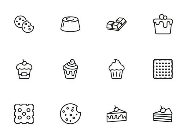 ilustrações de stock, clip art, desenhos animados e ícones de cakes and cookies line icon set - bolinho