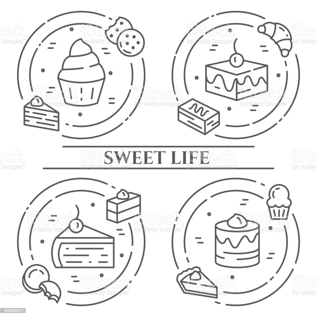 Cakes and cookies theme horizontal banner. Pictograms of pie, brownie, biscuit, tiramisu, roll and other dessert related elements Line out symbols Simple silhouette Editable stroke vector art illustration