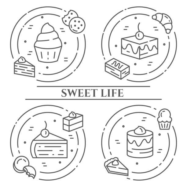 bildbanksillustrationer, clip art samt tecknat material och ikoner med tårtor och kakor tema horisontell banderoll. piktogram av paj, brownie, kex, tiramisu, rulle och andra dessert relaterade element linje ut symboler enkla siluetten redigerbara stroke - brownie